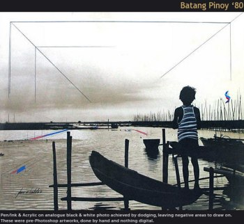 ". . I was with Nestor de Villa (Gines Soriano, in real life) shooting scenes around Morong, when i found this little boy standing on a ""banka"" (small boat) as if meditating about what was to come. This film-song I made is about the plight of the ""Filipino Child"", or for that matter, the Filipino children roaming around the streets of most city centers in our country, the Philippines . . especially that of Metro-Manila where the Philippine government's main offices are located. This is a call for all Filipinos to unite to seriously help, care, and guide these children to become better citizens or even become the future leaders of this nation. The 3-month effort to make the longer version of this video ended in a letdown after my pc crashed. This effort, a make-do film is only to remind me that I tried making a long video in the past, in my small way. Lyrics, rendition, composition, arrangement, guitar, keyboard are all by yours truly. Thanks for bearing with me, and for watching a glimpse of my, what could have been, longer unrecovered film. Dedicated to all Pinoys, mothers, fathers & children Still photos by Nik Ricio, a fellow college mate at the UP School of Fine Arts '64, are super-imposed with the afternoon's video I took of the children playing at the open space across our house in Imus, Cavite, Philippines. The still photos were lifted from Gilda Cordero's book, ""The Streets of Manila"". I thank Gilda and Nikfor allowing me to include some of the children's images in this short video experiment. Mabuhay and mga ""Batang Pinoy"""