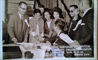 ". Another photo w/ Senator Jose Diokno . . this was ""Free Press"" times. I remember names like Climaco, Salonga, Recto, Osias, Osmena, Laurel, Manahan, etc. I used to read Leon O. Ty's political magazine, ""Examiner"" and those of Soc Rodrigo's. I had my Arts & Sciences and Fine Arts subjects which buildings were not too far from each other - - a good walk for an exercise in between subjects. I was enjoying two scholarships that allowed me to finish college, UP College and University, and CMLI scholarships. A third and fourth scholarships for further studies I availed of were for US and Germany."