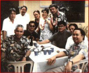 "Glenn A. Bautista / January 24, 2011 @ Jing's Place? — with Rommel F. Reyes, Peggy Bose, Tina Bacaltos, Armand Bacaltos, Emerito Garcia and Edgar Salazar. Armand Bacaltos: No, this was at Ad's place in Calamba on the occasion of our 25th wedding anniversary (Tina and I) in 2001. A few days before 9/11 took place. Glenn A. Bautista: I thought I was alone in BF watchin' tv when it took place. How come I was with the group? Did you then pick me up in BF or meet at a Shell station somewhere?  Armand Bacaltos: Dinaanan ka namin sa BF. Glenn A. Bautista: ah, wow . . siguro nga. Glenn A. Bautista: Bim, kindly tag d others . . Glenn A. Bautista: emerito ba c pride? Glenn A. Bautista: yung nasa harap sa kaliwa . . Armand Bacaltos: emerito, pride, bato, tobats and ""master Bates"" to Artists' Circle neophytes XD Armand Bacaltos: Yung nasa kaliwa, si Jimmy Jimenez, pioneer brod sa Artist's Circle. Rommel F. Reyes: Braaaad... pang Smithsonian photo ito. Was this colorized from a B/W photo??? Regards to all!!! Glenn A. Bautista: Not at all Rommel, this must have been taken w/ my first archaic Sony Mavica floppy disk card digital camera. T'was expensive but res was not so good, even d color . . but better than nothin', d ba? But, I think this wasn't d orig file but a small res version . . Edgar Salazar: 101% sure ako orig file iyan kaya nga mukhang mga matatanda mga boys, pang archaic talaga mga dating- mga chicks lang talaga nagiging bata...di ba tins? Armand Bacaltos @Bunny: Mukhang bata kaya sila dahil hindi natin binibigyan ng problema kaya masaya? Glenn A. Bautista @ bunny & bim: . . ows, talaga?, hehe . . sumipol kaya ako ng d gud d bad n d ugly, haha . . memories ba bimB? Edgar Salazar: madame malou - kasama ka sa mga hindi problemado kaya beauty ka pa rin.....YESSSSSS!!!! kamusta na mga frends malou,glenn,mel sr.,etc etc...si bim,sieg at rito nagkasama kami last wk.. Armand Bacaltos @Bunny: na-sentensyahan na ni Joaquin yung toblerone ni Noli kaya kelangan magkita ulit tayo ni Sieg bago sya umuwi sa States. Emerito Garcia: Bro, ano ba ang huli nyong usapan nila sieg. kailan ang balik niya d2 manila? Sana mayroon pa siyang time para magkikita pa tayo! Armand Bacaltos: siguradong magkikita pa bago sya umuwi sa 20th. Nagpapa-reserve pa kay Tins ng flight sa busuanga. Emerito Garcia: Bro di ba dapat may theme ang ocassion na ito? Hawaiian ba? bakit ako lang yata ang sumunod. Alam mo ba na hiniram ko pa itong suot ko sa Hyatt? Emerito Garcia: Sana weekend para makasam lahat Armand Bacaltos: Hawaiian nga theme pero kj lang yung iba. Meron kayong nahihiraman ng ganon sa Hyatt?"