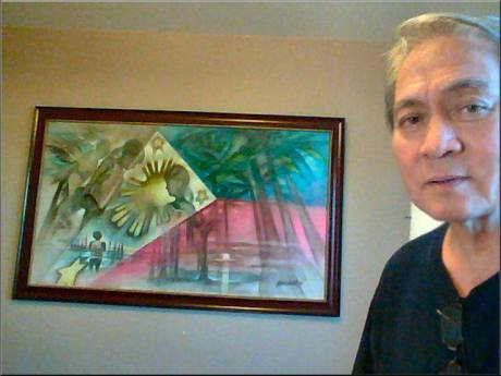 """. Eli Pangilinan of Glendora, California - commissioned me to do this oil painting on canvas entitiled, """"Nationalism '06"""": http://fineartamerica.com/featured/philippine-flag-2006-glenn-bautista.html  https://www.facebook.com/photo.php?fbid=10151523951402732&set=pcb.10151523967552732&type=1&theater"""