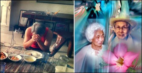 "Tatay & Nanay / Rose of Sharon ( a digital interaction by Doris & Glenn) A foto-collage on my folks, we call ""Tatay"" (father) and ""Nanay"" (mother). Nanay already went ahead to meet Jesus face to face while Tatay, 94 yrs old, is enjoying the rest of the Bautista family in California, USA. The hymn ""Rose of Sharon"" was one of Nanay's favorite songs, thus the title of the video. This is in preparation for the portrait I am commissioned to paint by our eldest sister, Ate Necy, of our folks. She is now in CA with her husband, Kuya Fil, son Willy, and daughter, Carol."