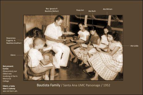 Family Bible Study / led by my father, Rev. Ignacio P. Bautista / Wesley Methodist Church, Santa Ana, Manila, Philippines - ca - 1952